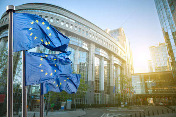 European union flag against parliament in Brussels Stock photo © artjazz