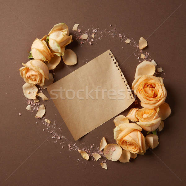 Craft paper and flowers Stock photo © artjazz