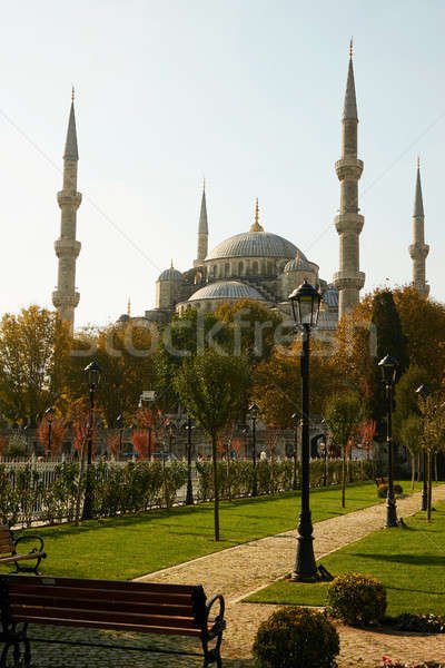 Stock photo: view of the park and blue mosque