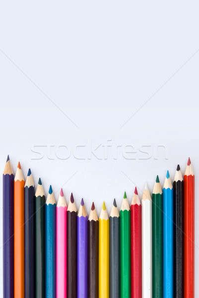 Renk kalemler yalıtılmış beyaz kalem eğitim Stok fotoğraf © artjazz