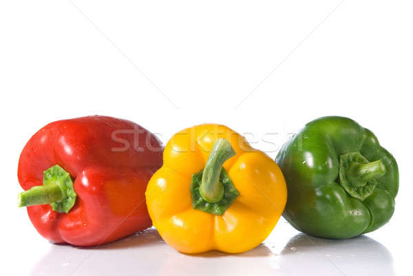 red, yellow and green pepper with water drops isolated on white Stock photo © artjazz