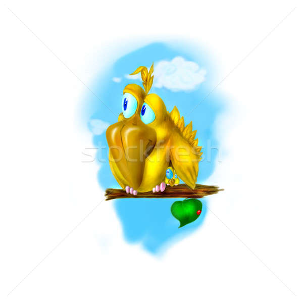drawing of the funny yellow birds Stock photo © artjazz