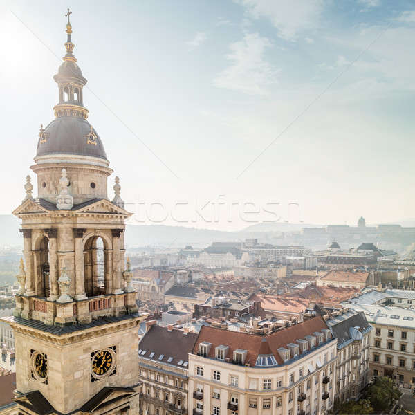 Stock photo: Bell tower of St. Stephen's Basilica and view of Budapest
