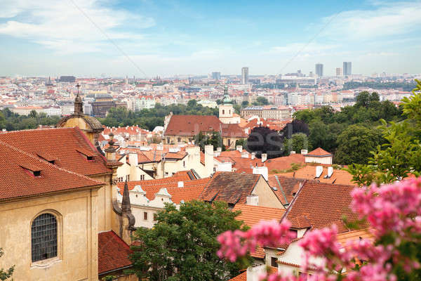View over historic center of Prague with castle, Stock photo © artjazz