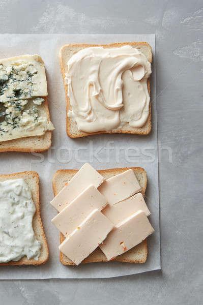 Formaggio alimentare sfondo blu Foto d'archivio © artjazz