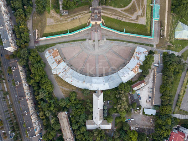 Aerial view from the drone strictly above the Kyiv Fortress Oblique caponier, Ukraine. Stock photo © artjazz