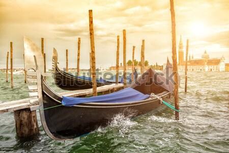 ストックフォト: 教会 · ヴェネツィア · 運河 · 水 · 市 · 海