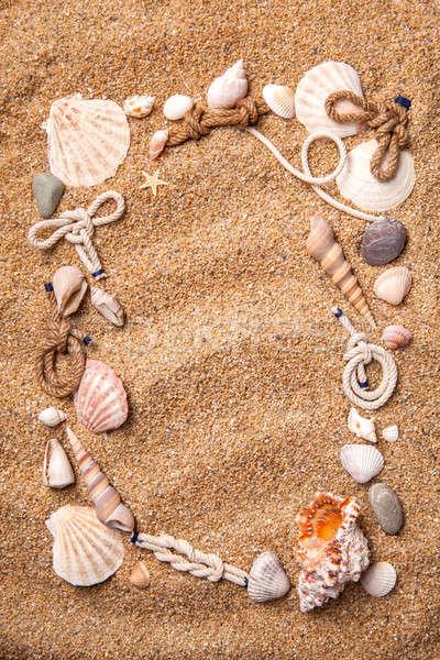 Cadre obus sable haut vue Photo stock © artjazz