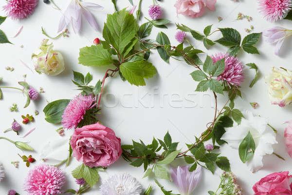 Provence frame of pink flowers Stock photo © artjazz