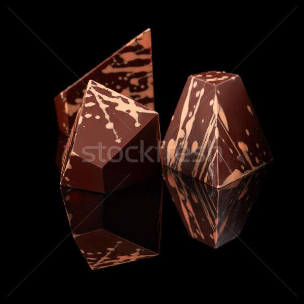 chocolates candies on black background Stock photo © artjazz