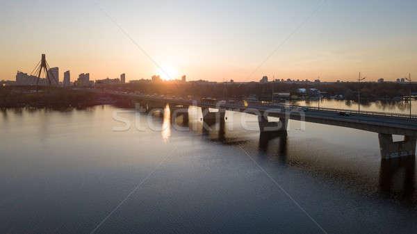 Puesta de sol norte puente río paisaje suspensión Foto stock © artjazz