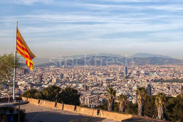 バルセロナ 市 フラグ スペイン 建物 ストックフォト © artjazz