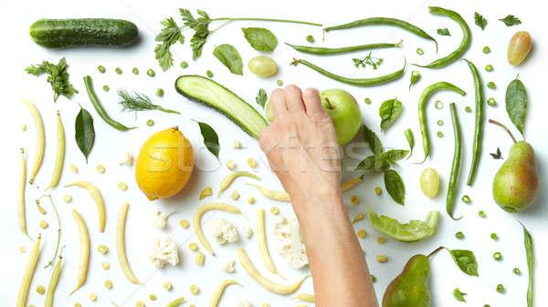 Stok fotoğraf: Natürmort · taze · yeşil · sebze · meyve