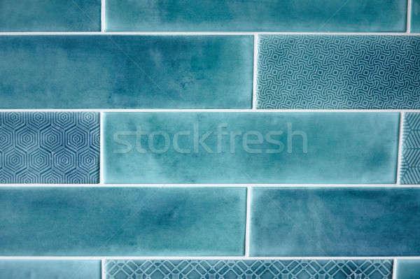 Textúra kék négyszögletes csempék minta fény Stock fotó © artjazz