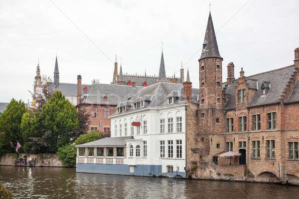 Manzaralı Cityscape ortaçağ evler kanal Belçika Stok fotoğraf © artjazz