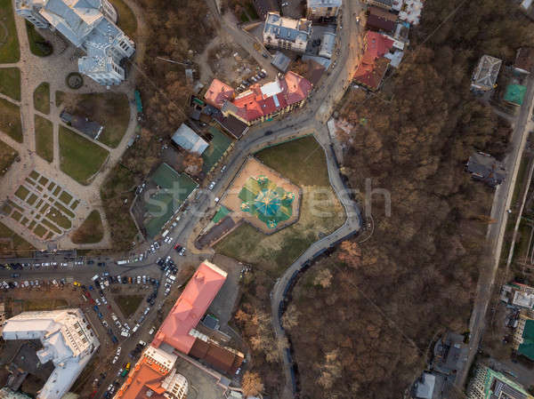 Aerial top view of Saint Andrew's church from above in Kiev city Stock photo © artjazz