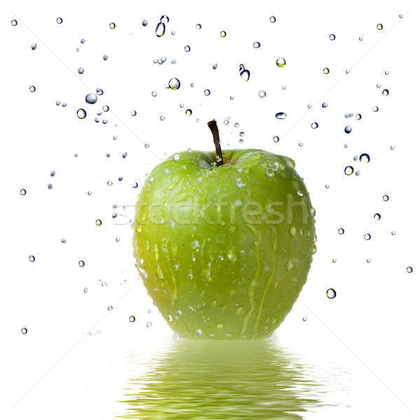 fresh water drops on green apple isolated on white Stock photo © artjazz