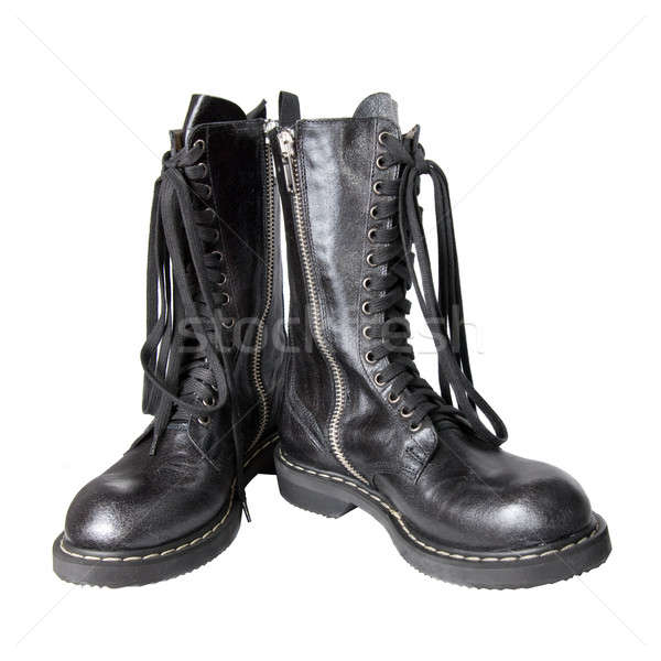 black leather boots isolated on white Stock photo © artjazz