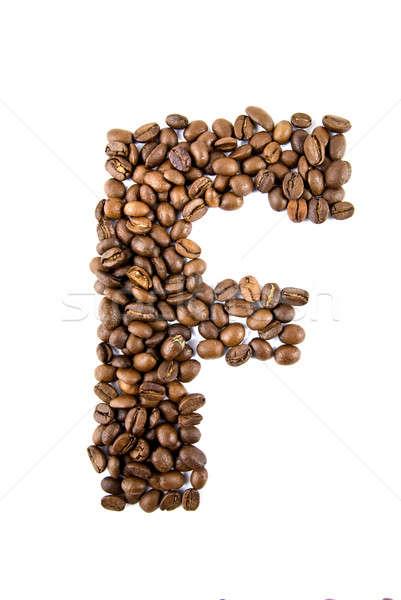 Kahve mektup yalıtılmış beyaz çerçeve arka Stok fotoğraf © artjazz