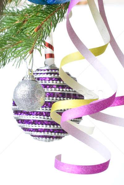 Christmas dekoracji oddziału odizolowany Zdjęcia stock © artjazz