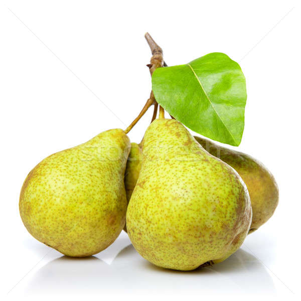 yellow pears with leaf isolated on white Stock photo © artjazz