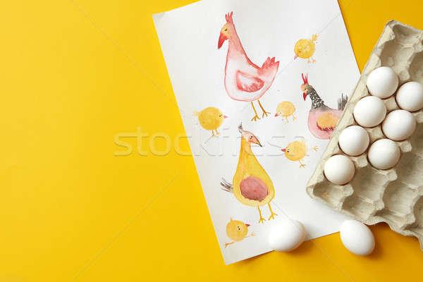 paper tray with eggs Stock photo © artjazz