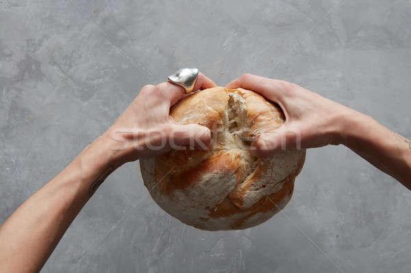 hand breaking Bread Stock photo © artjazz