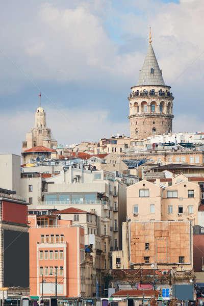Torony Isztambul Törökország kerület történelmi építészet középkori Stock fotó © artjazz