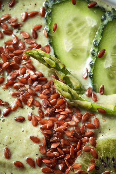 Green superfood smoothies with flax seeds and cucumber macro photo Stock photo © artjazz