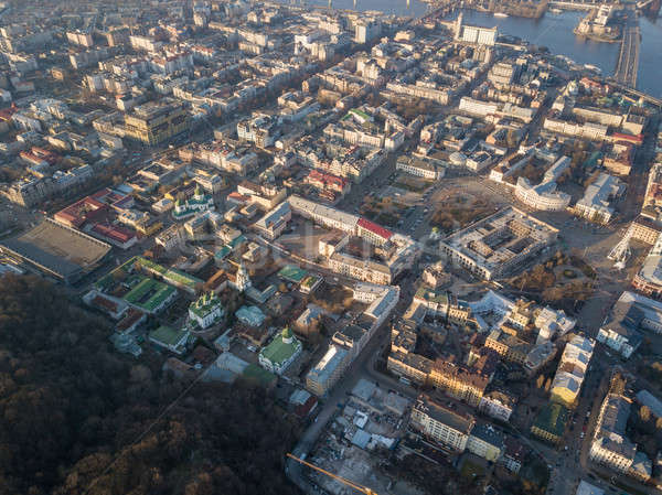 The panoramic bird's eye view from drone to the central historical part of the city Kiev - the Podol Stock photo © artjazz