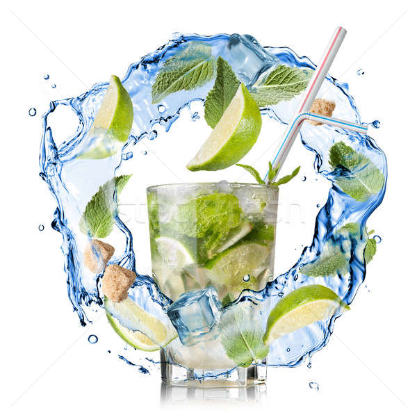 mohito - water splash with mint, lime and sugar isolated on whit Stock photo © artjazz