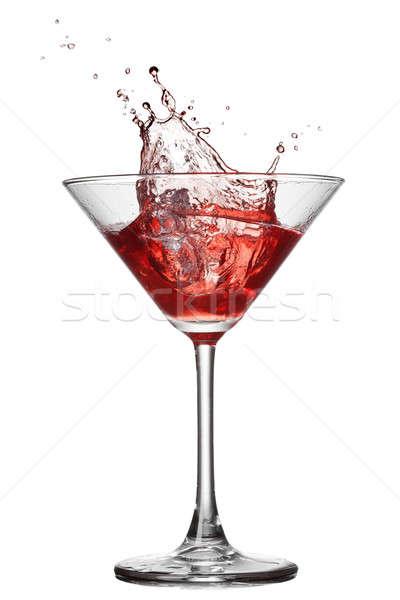 Vermelho coquetel salpico isolado branco vidro Foto stock © artjazz