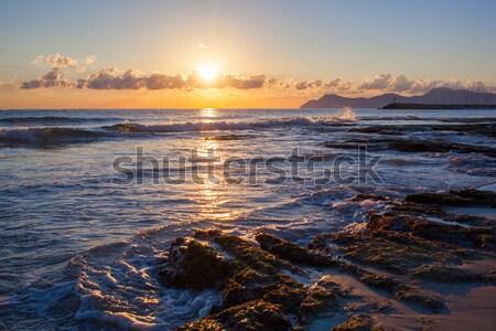 Nascer do sol mar mallorca lata praia céu Foto stock © artjazz