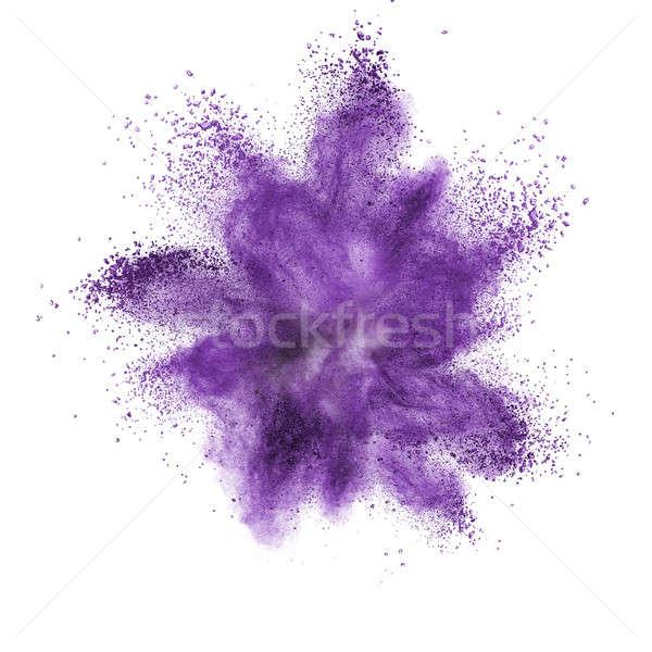 Witte poeder explosie geïsoleerd zwart wit zwarte Stockfoto © artjazz