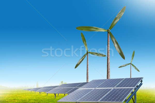 Groene energie natuurlijke wind generator zonnepanelen zomer Stockfoto © artjazz
