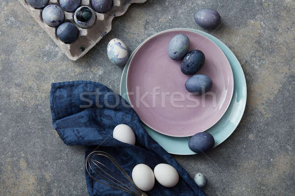 Easter eggs on a plate Stock photo © artjazz