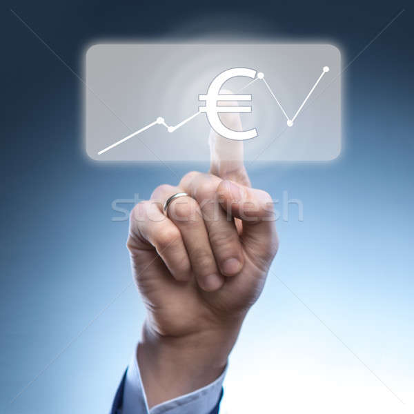Businessman touched euro currency icon Stock photo © artjazz