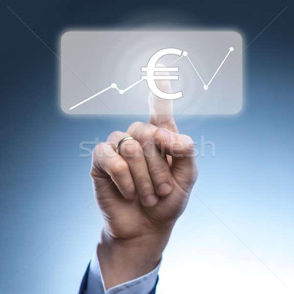 Foto d'archivio: Imprenditore · euro · valuta · icona · virtuale · finanziaria