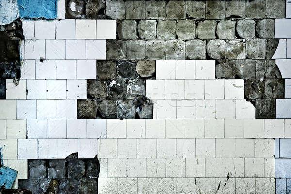 テクスチャ 古い タイル 壁 亀裂 建設 ストックフォト © artjazz