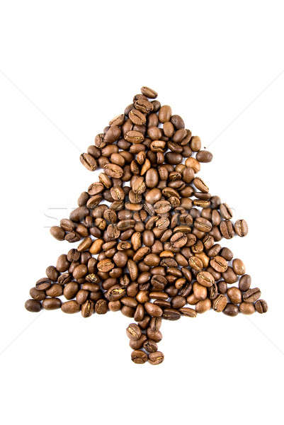 fir-tree from coffee beans isolated on white Stock photo © artjazz