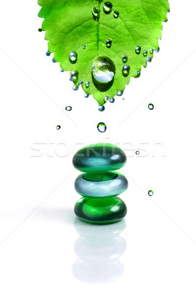 balancing spa shiny stones with leaf and water drops isolated on white Stock photo © artjazz