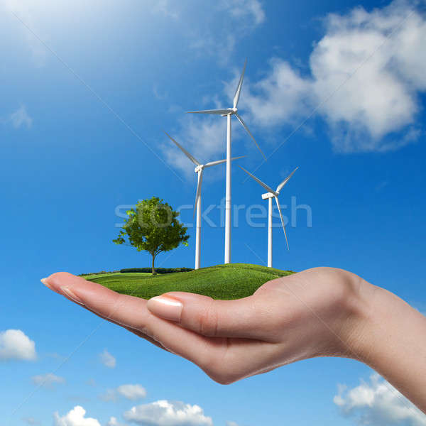 Wind turbines with tree in female hand  Stock photo © artjazz