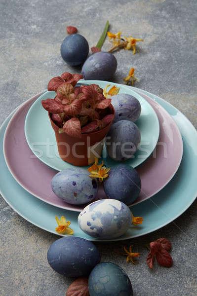 flowerpots and easter eggs Stock photo © artjazz
