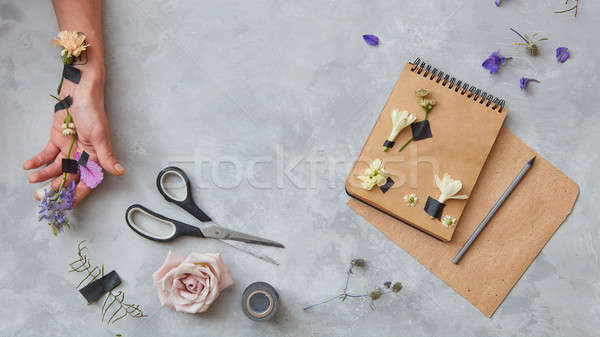 Composition of notebook with pencil Stock photo © artjazz