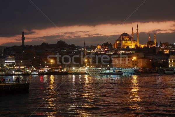 синий мечети Стамбуле Турция ночь красивой Сток-фото © artjazz