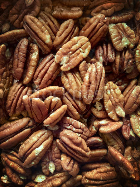 Lots of raw organic pecan nuts. Pecan background. Stock photo © artjazz