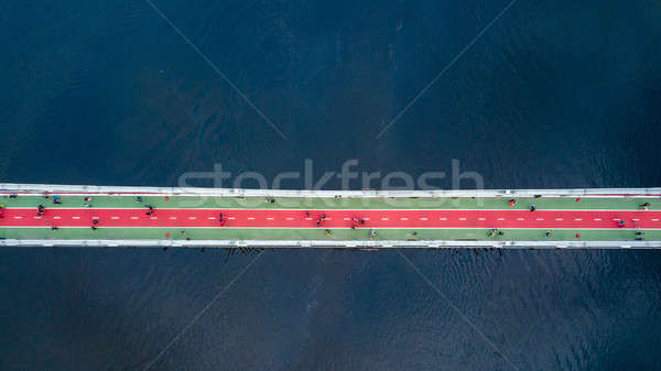 top view of pedestrian on Park bridge and Dnieper river in city Kiev , Ukraine Stock photo © artjazz
