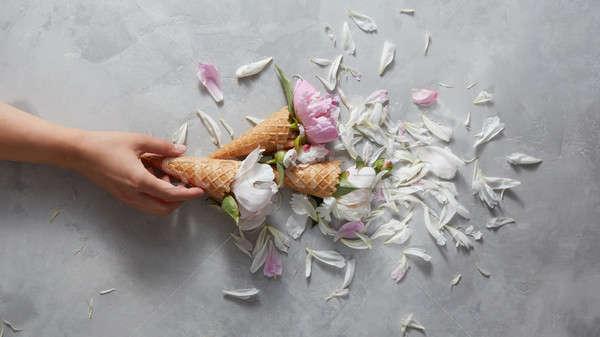 Menina manter waffle cone belo rosa Foto stock © artjazz