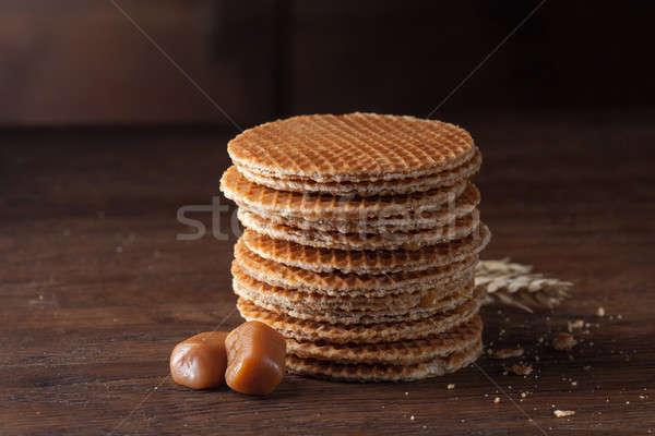 Stockfoto: Karamel · hout · tarwe · houten · tabel · ontbijt