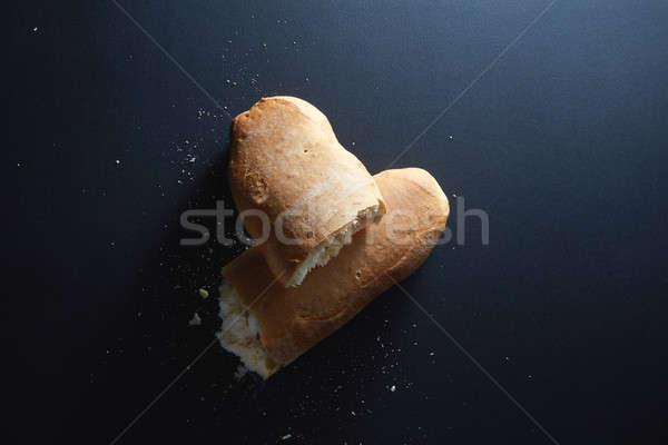 Stockfoto: Italiaans · vers · brood · half · gebroken · geïsoleerd